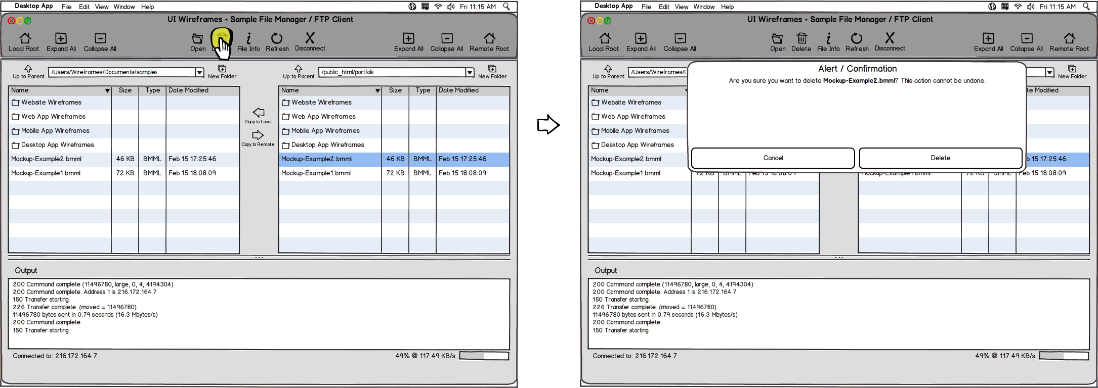 Desktop App Wireframe Example - Interaction