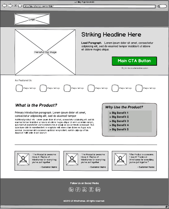Landing Page Wireframe Example - Foundation