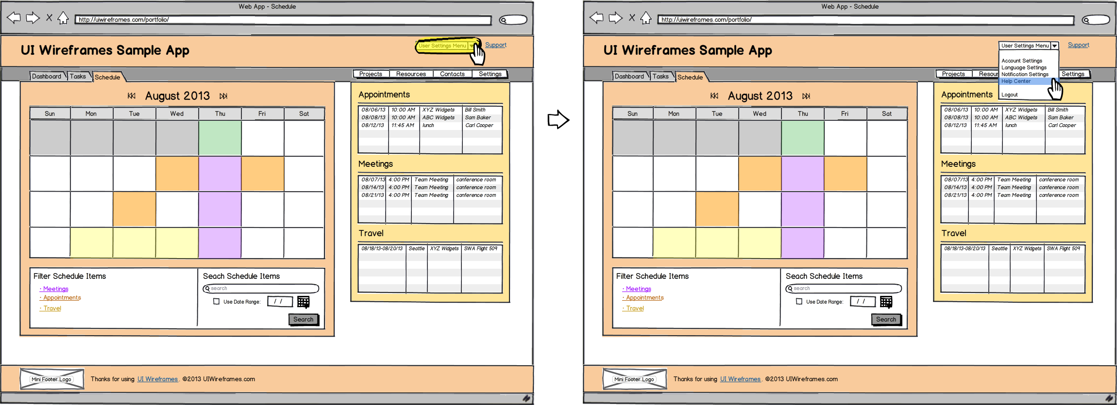 Web App Wireframe Example - Interaction