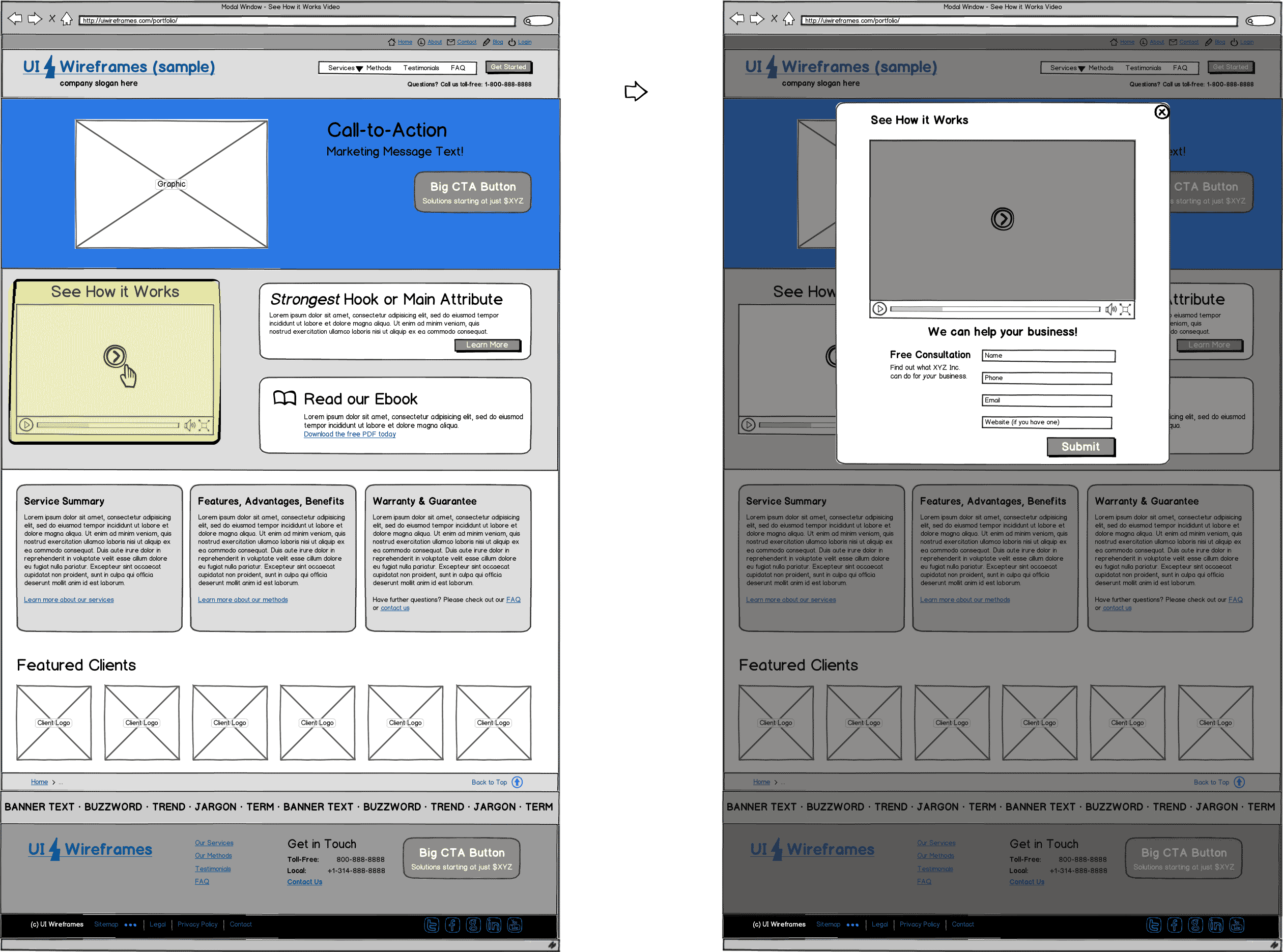 Website Wireframe Sample - UI Wireframes Interaction Package