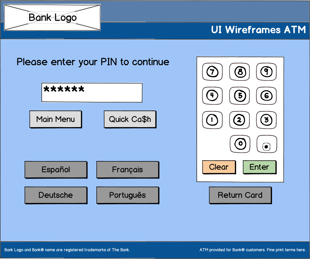ATM Login Screen Wireframe Example