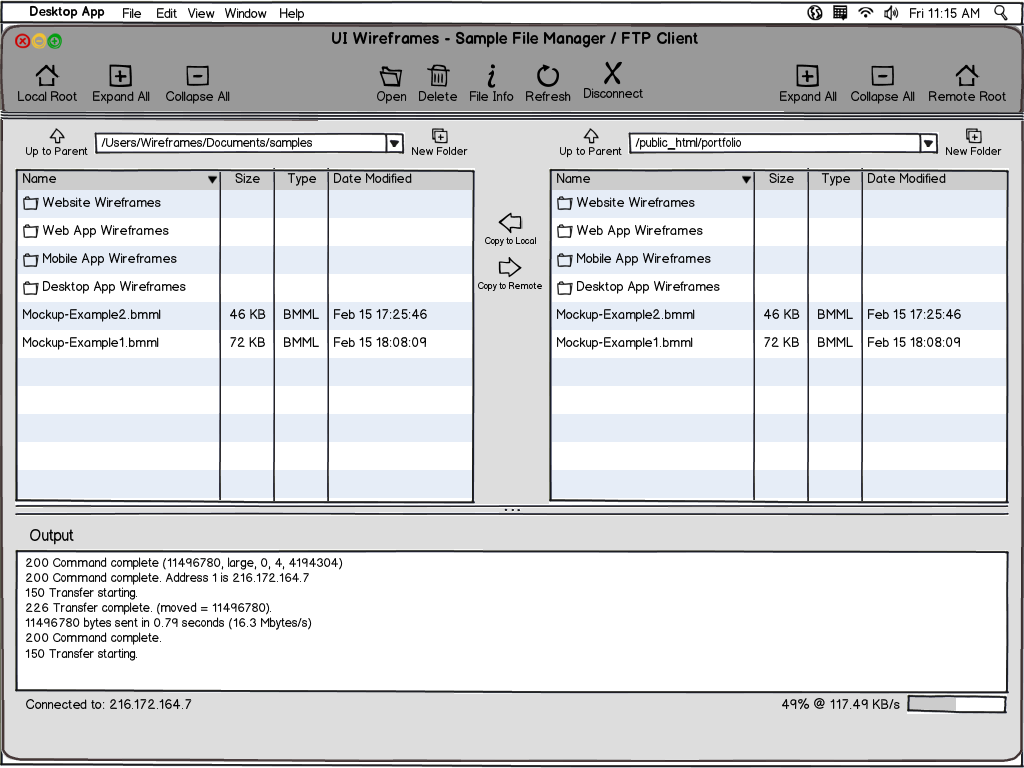 Desktop Software Wireframe Example