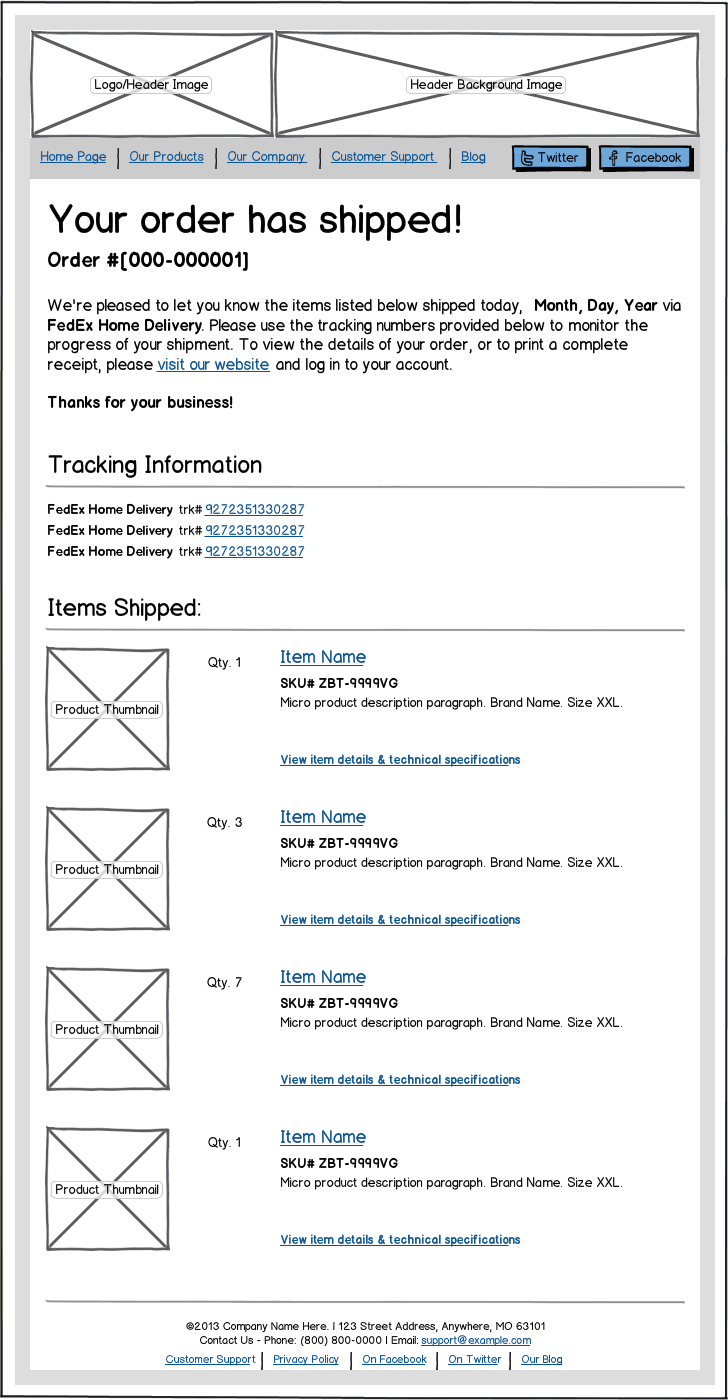 Email Template Wireframe Example
