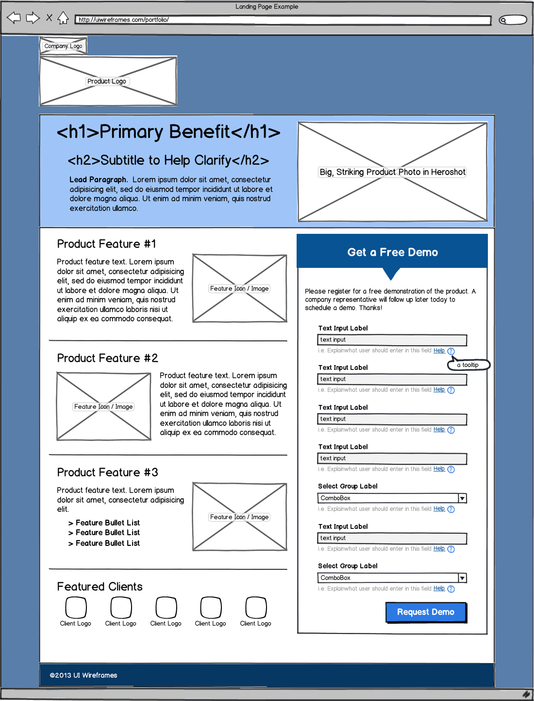 Opt-In Landing Page Form Wireframe Example