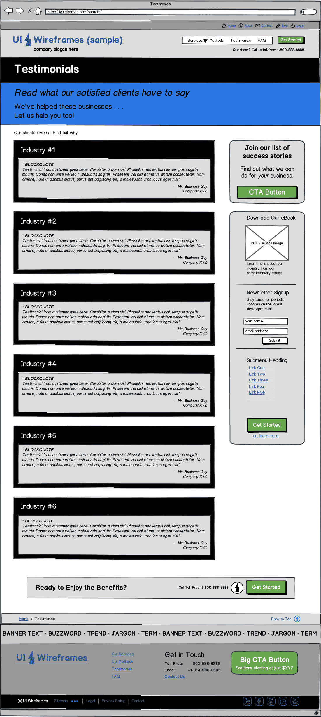 Responsive Website Wireframe Thumbnail