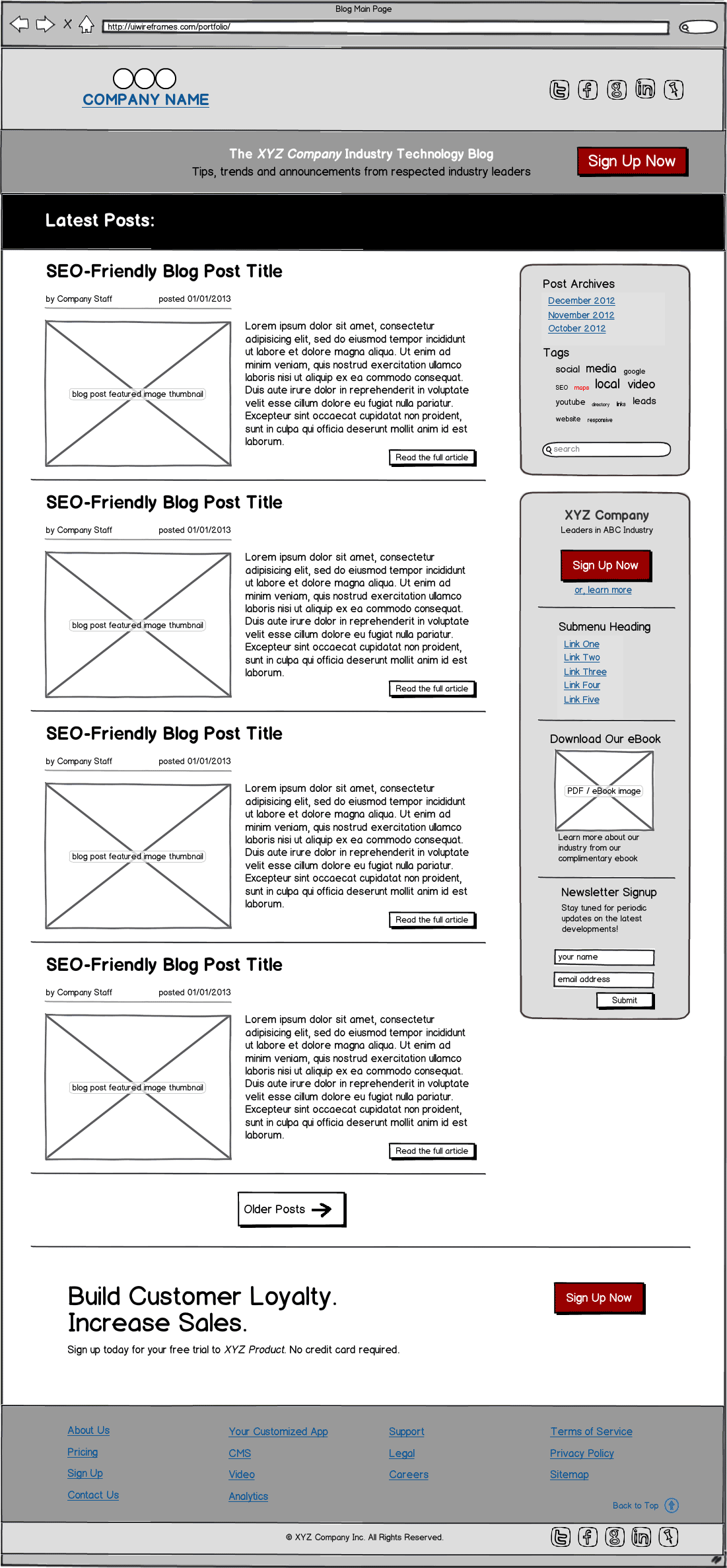 B2B Corporate Blog Wireframe Example