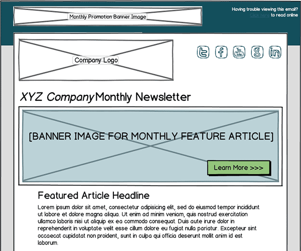 Email Template Wireframe Sample Thumbnail