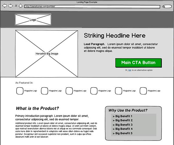Website Wireframe: Landing Page Wireframe Design Services