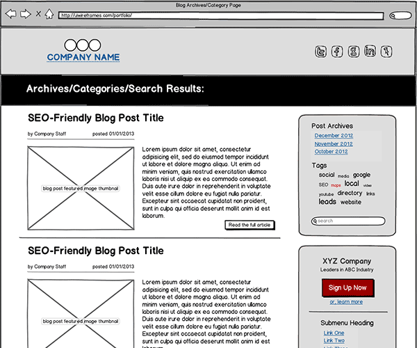 B2B Corporate Blog Wireframe Thumbnail