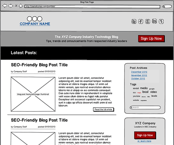 B2B Blog Wireframes Gallery Thumbnail