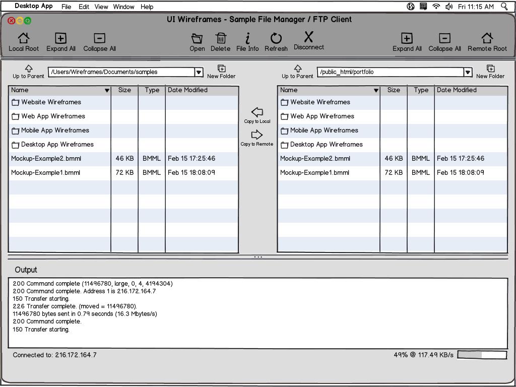desktop software wireframe design services